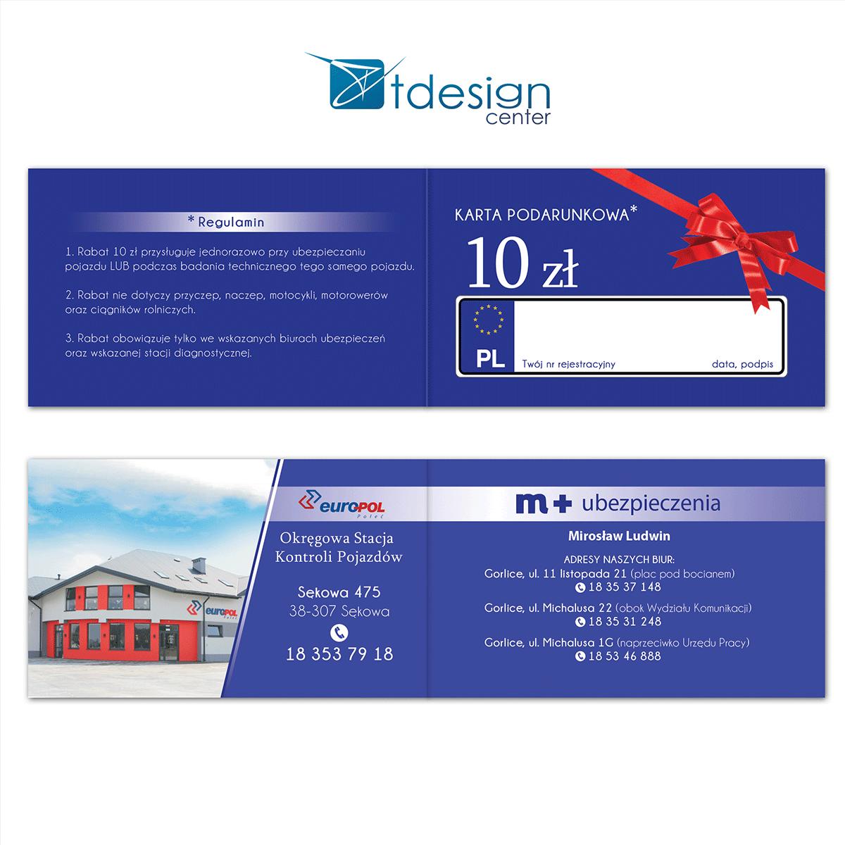 Wizytówka składana - projekt + druk dla firu ubezpieczeniowej M+