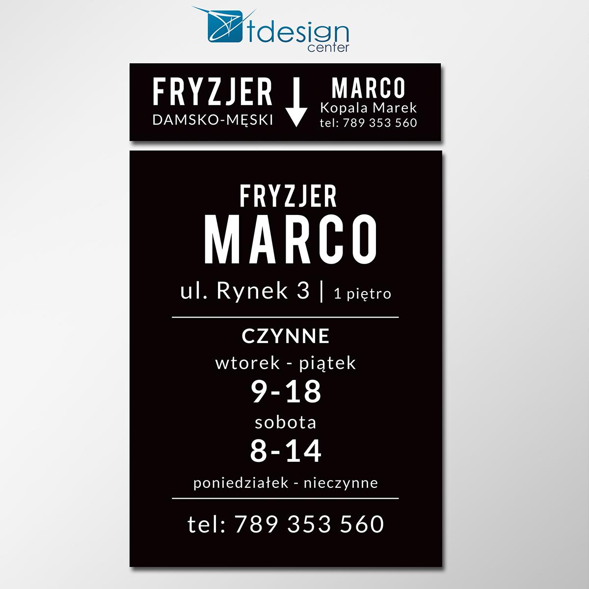 Tablica DIBOND - projekt + realizacja dla salonu fryzjerskiego MARCO