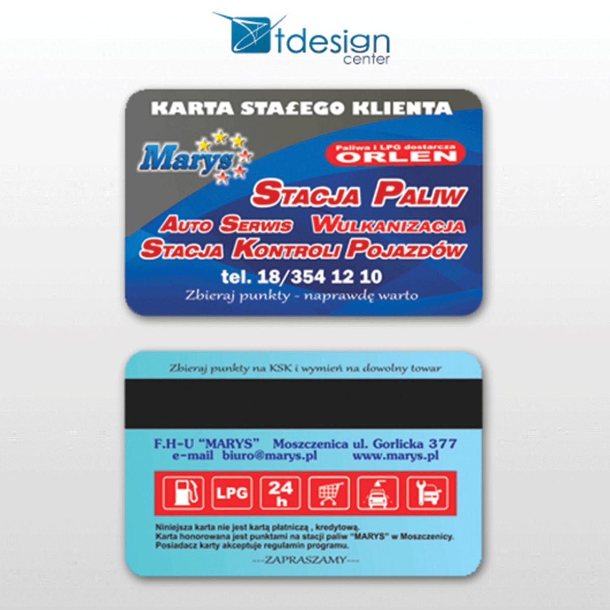 Karta plastikowa 85x54mm, pasek magnetyczny - projekt + druk, realizacja dla firmy Marys