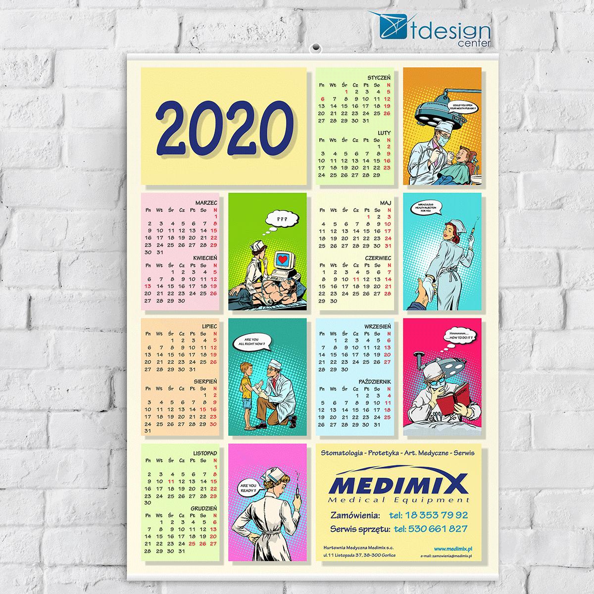 Kalendarz ścienny A1 - druk wykonany dla firmy Medimix