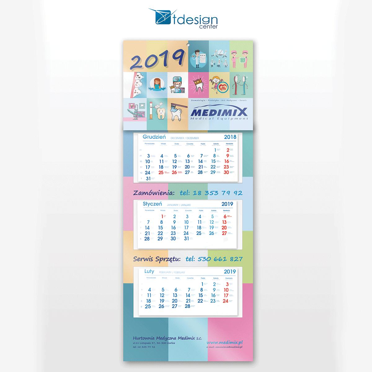 Kalendarz trójdzielny - druk wykonany dla firmy Medimix