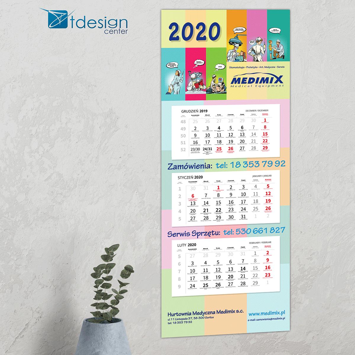 Kalendarz trójdzielny, druk wykonany dla firmy Medimix