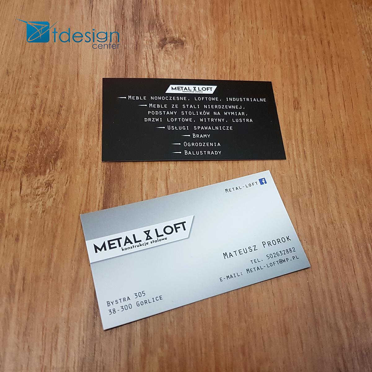 Wizytówki 90x50m - projekt + druk - realizacja dla firmy Metalloft