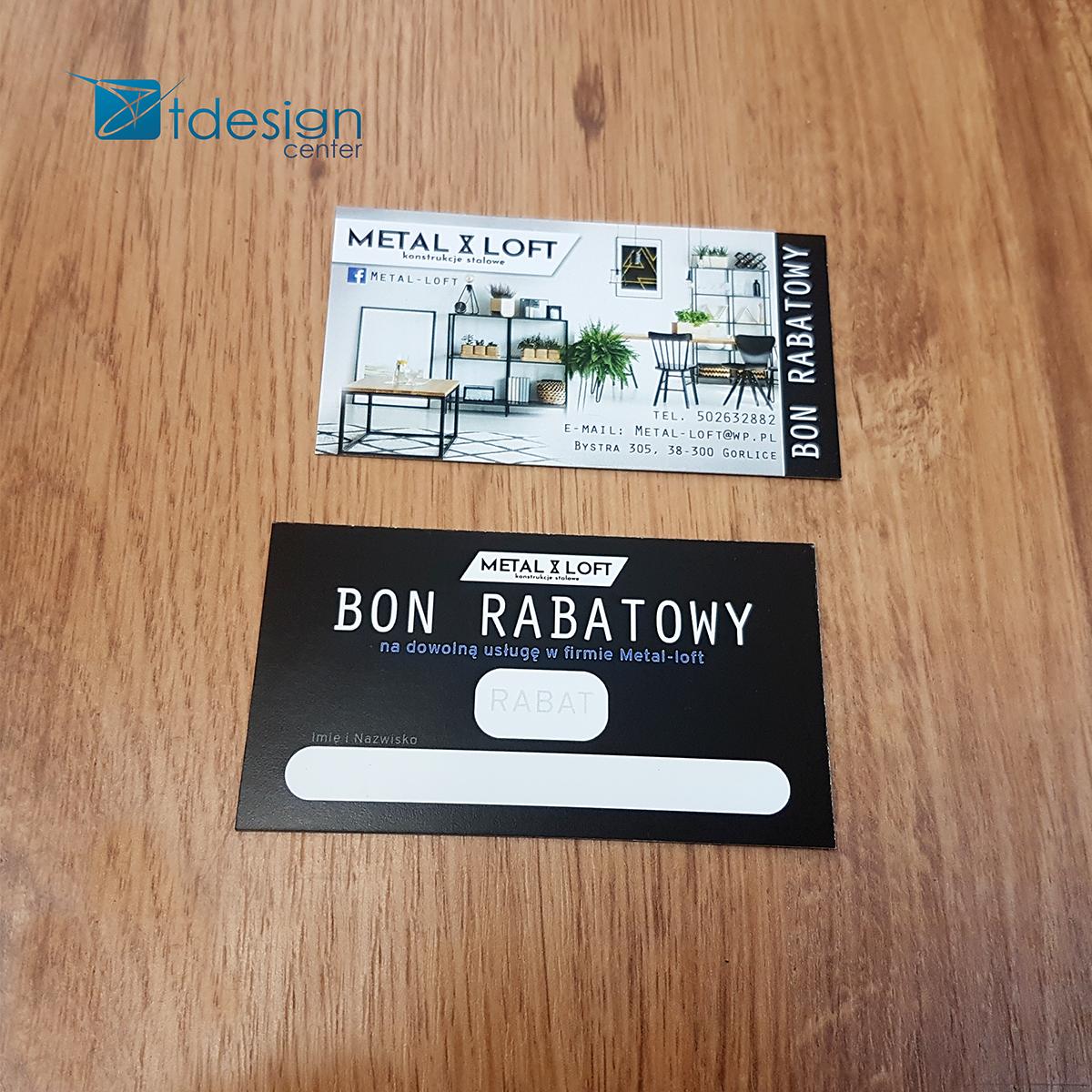 Wizytówki/Bony 90x50mm - projekt+druk - realizacja dla firmy Metalloft