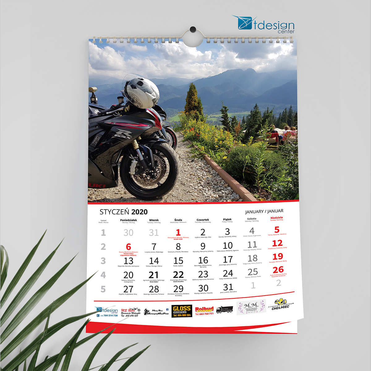 Kalendarz ścienny A3 - projekt + druk