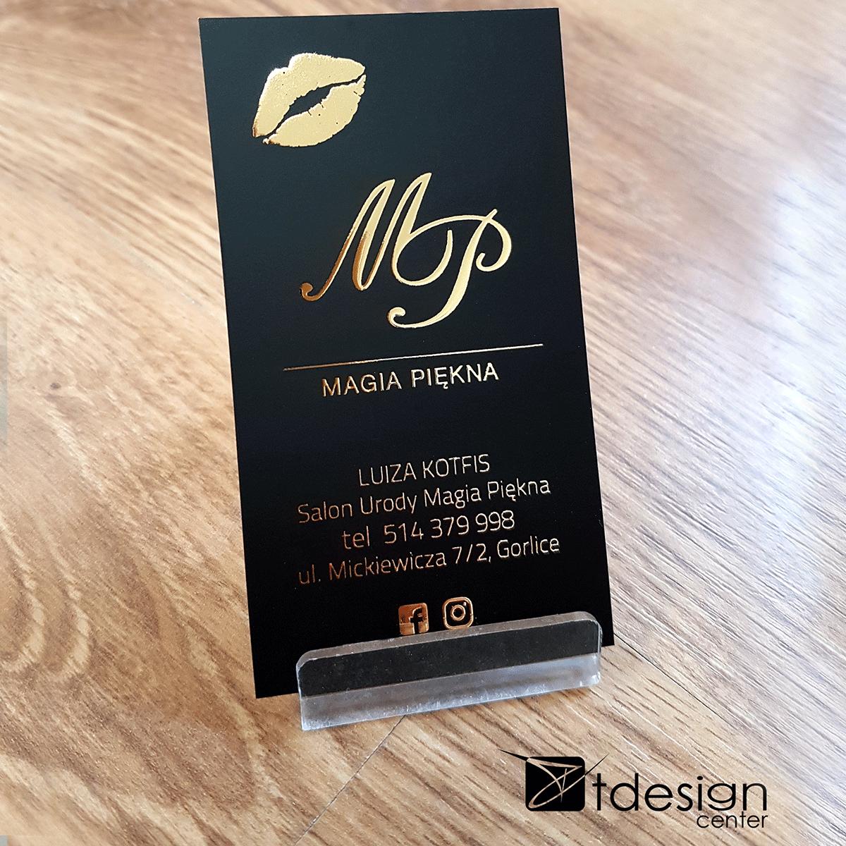 Wizytówka 90x50mm z dodatkowym uszlachetnieniem LIQUID GOLD 3D 1/0, projekt + druk, realizacja dla Magii Piękna