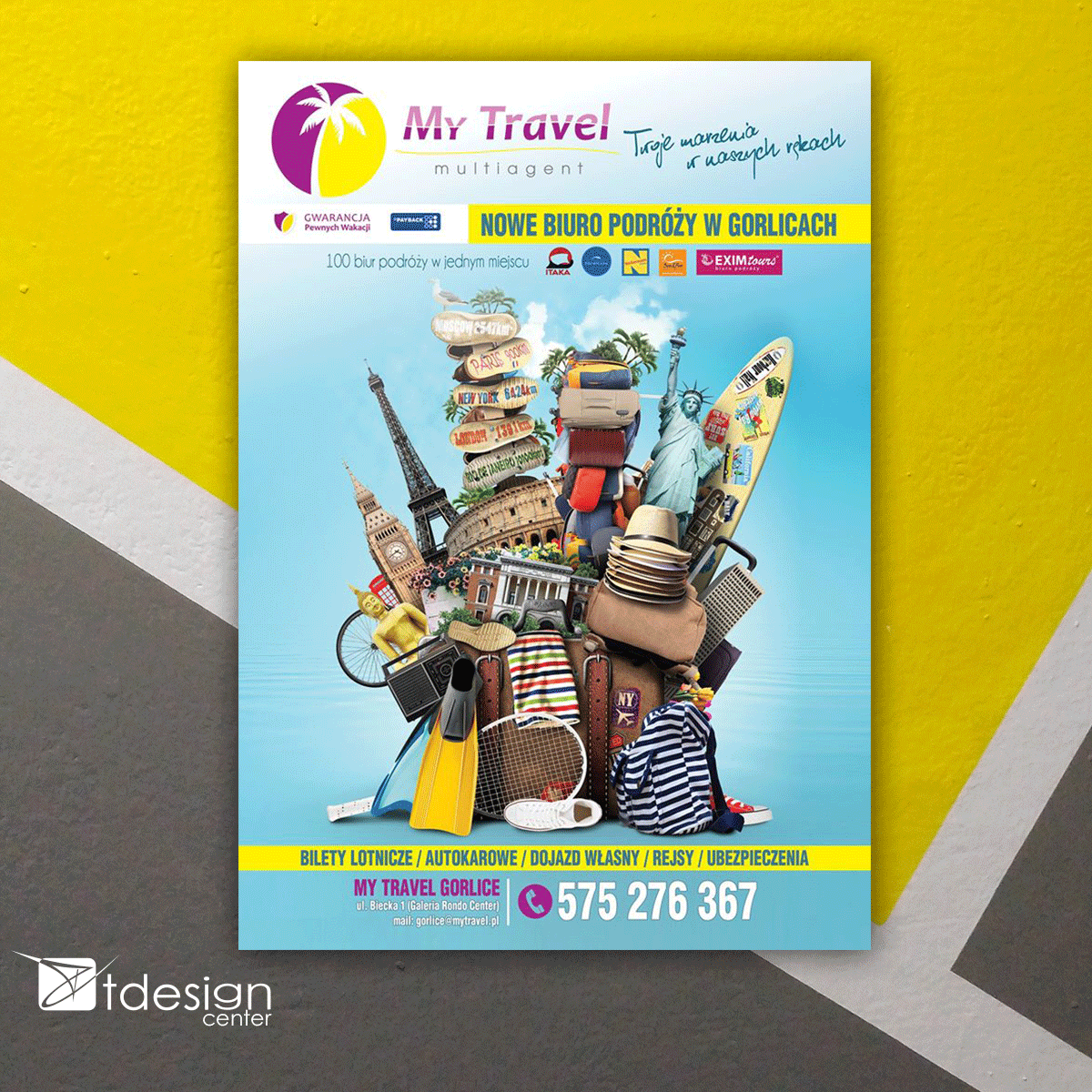 Plakat, projekt wykonany dla biura podróży My Travel