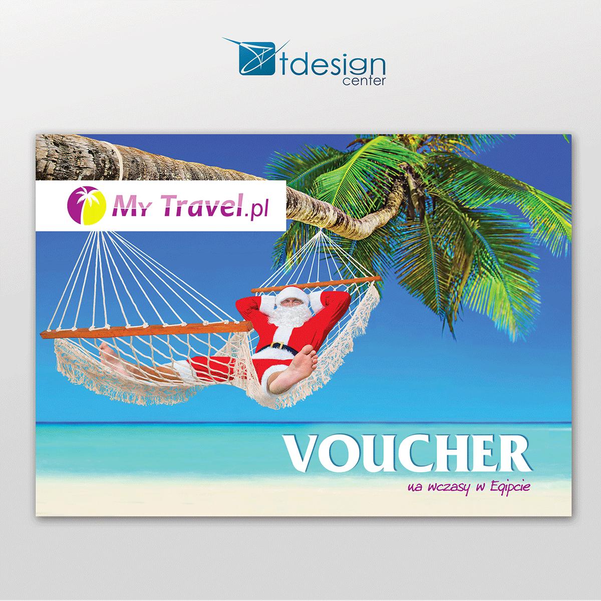 Voucher A4, projekt wykonany dla biura podróży My Travel