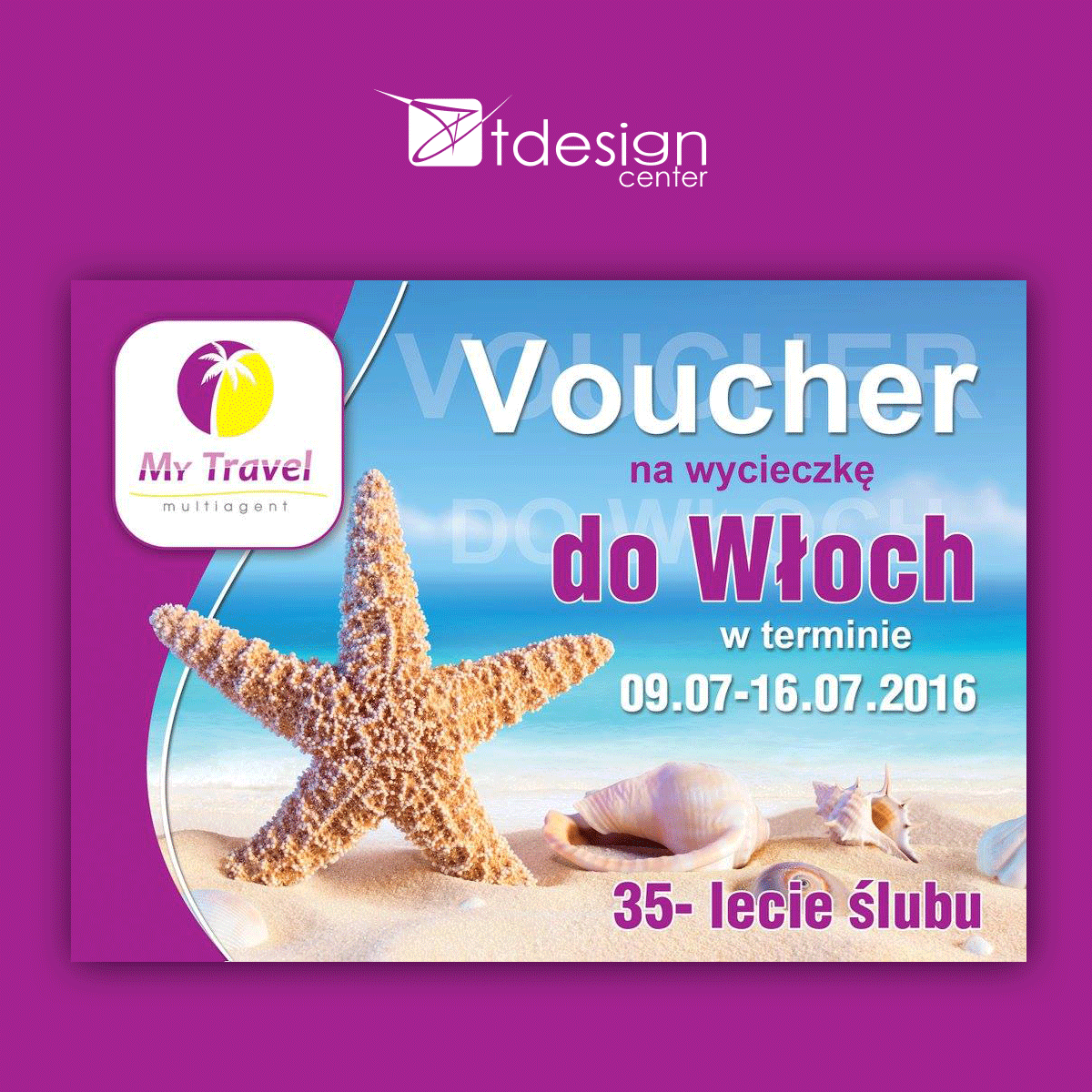 Voucher, projekt wykonany dla biura podróży My Travel