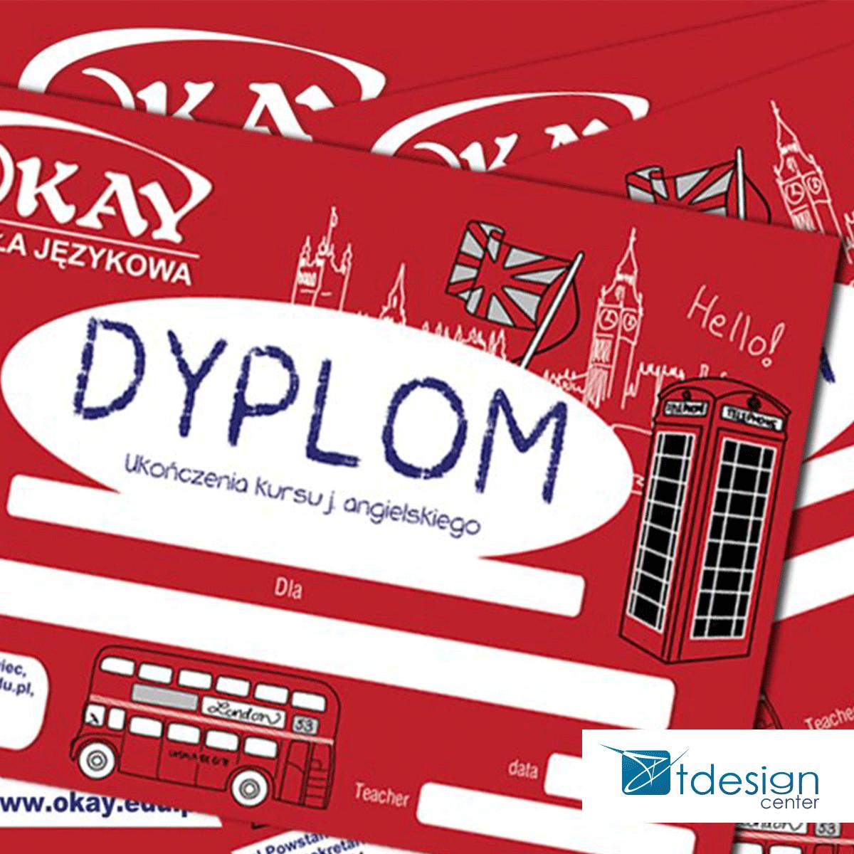 Dyplom A5, projekt wykonany dla szkoły językowej OKAY