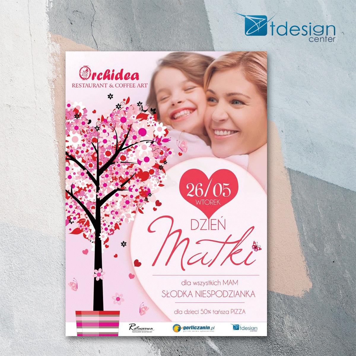Plakat A3, projekt wykonany dla restauracji Orchidea