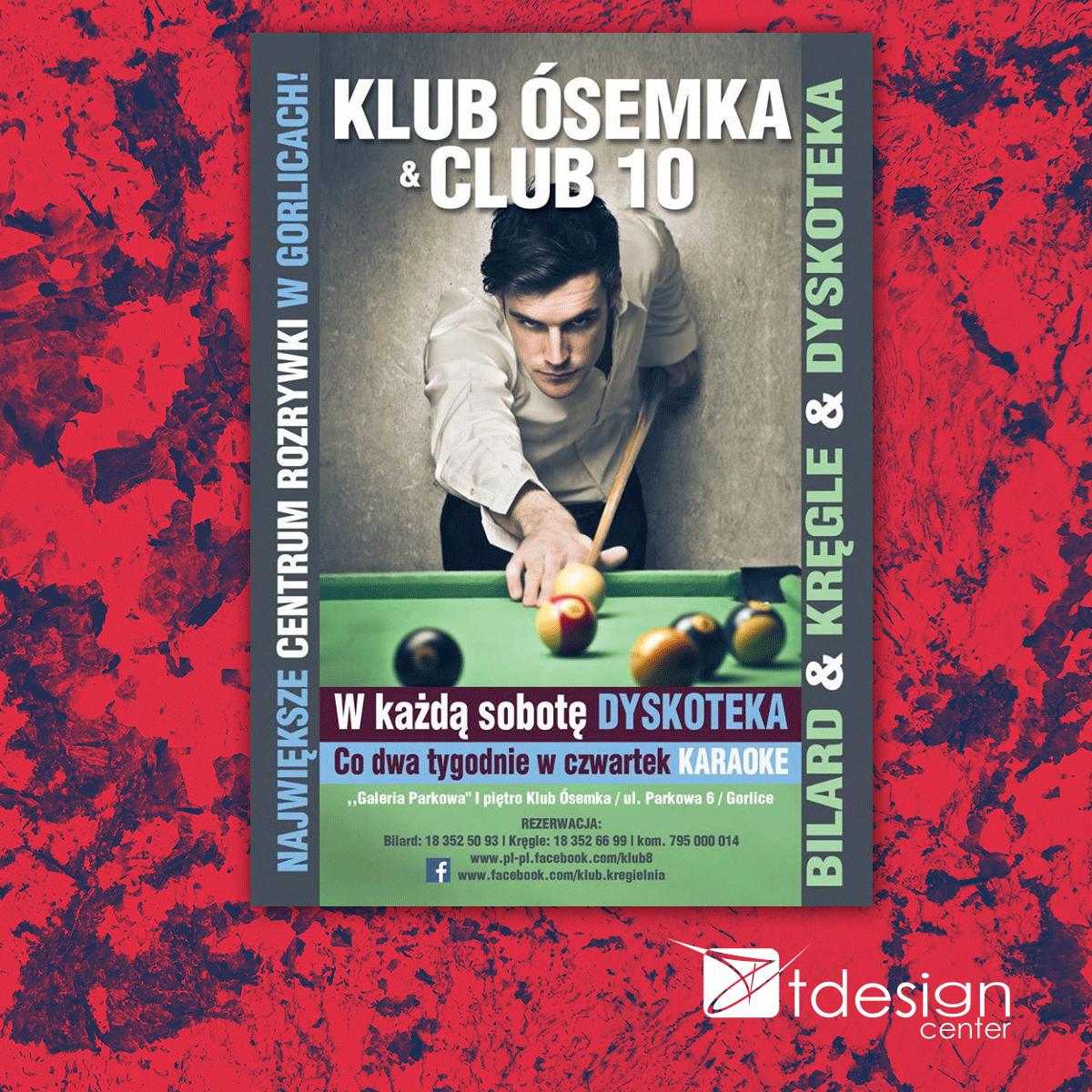 Plakat, projekt wykonany dla klubu Ósemka