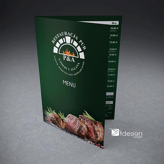 Menu A3 składane do A4, projekt+druk, realizacja dla restauracji u Połki i Allana