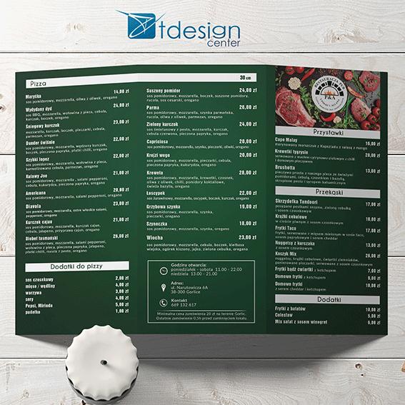 Ulotka A4 składana do DL, projekt+druk, realizacja dla restauracji u Połki i Allana