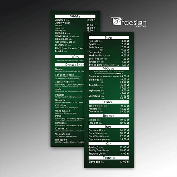 Wkładka do menu 105x297mm, projekt + druk, realizacja dla restauracji u Połki i Allana