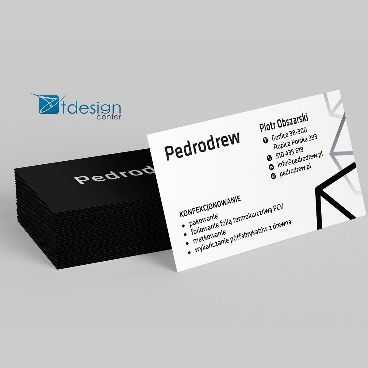 Wizytówka 90x50mm, projekt + druk, realizacja dla firmy Pedrodrew
