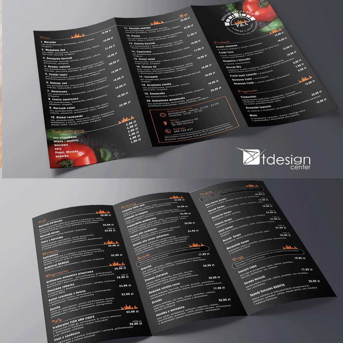 Ulotka A4 składana do DL, projekt + druk, realizacja dla restauracji U Połki i Allana