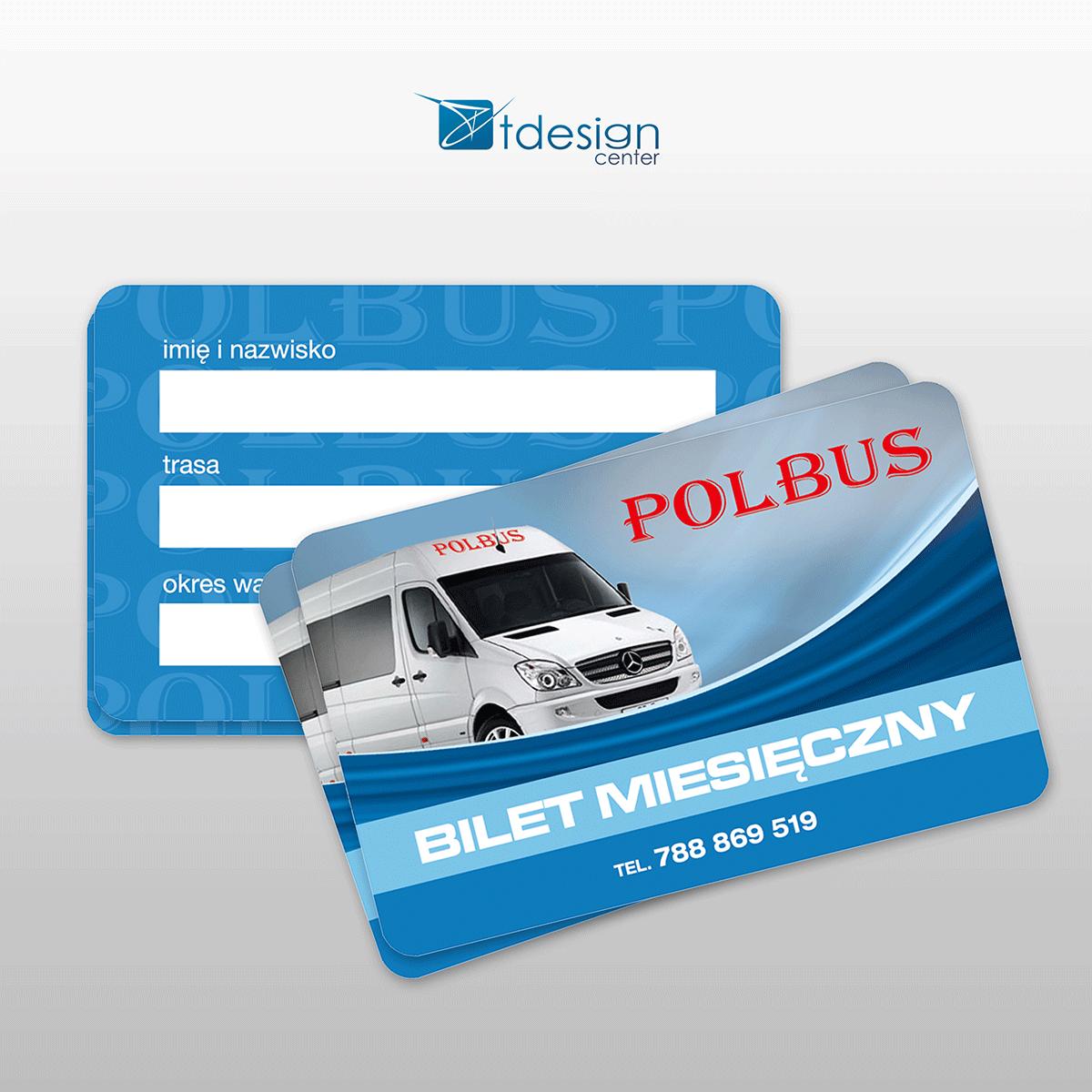 Karty 85x54mm, projekt + druk, realizacja dla firmy Polbus