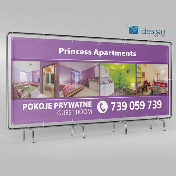 Baner 180x70 cm, projekt + realizacja dla Princessapartments