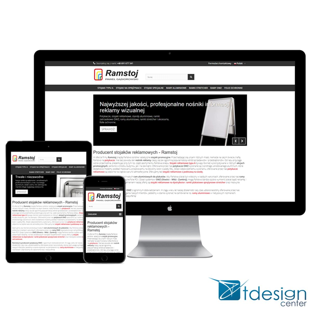 Strona internetowa stworzona dla sklepu Ramstoj