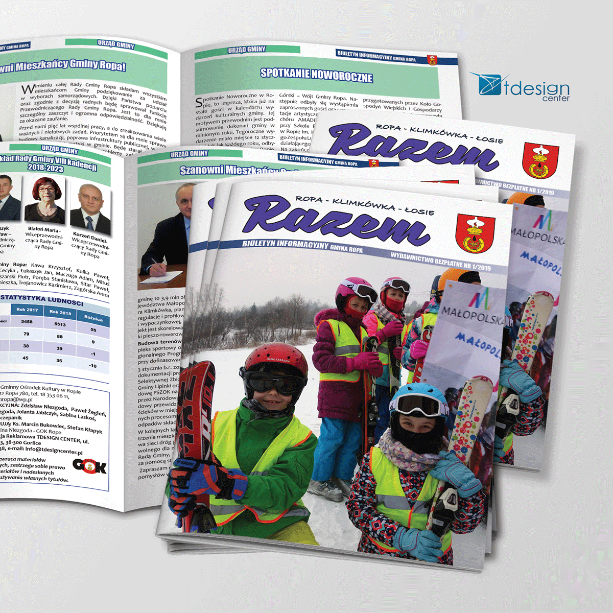 Skład DTP, projekt i druk katalogu Razem, 20 stron
