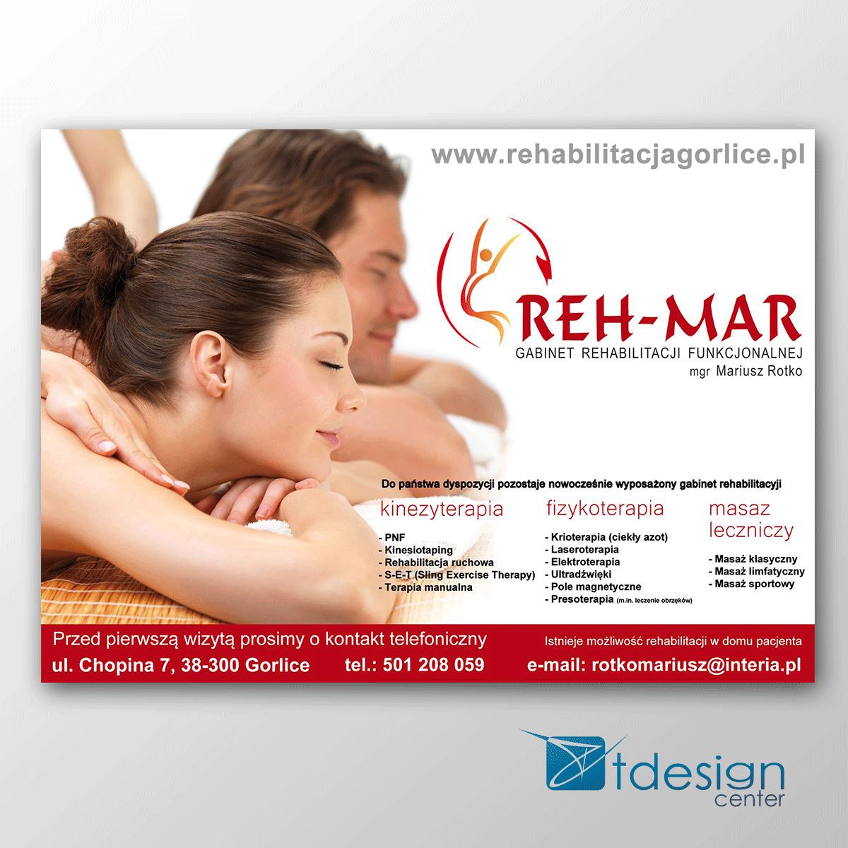 Projekt wykonany dla gabinetu rehabilitacji Reh-Mar