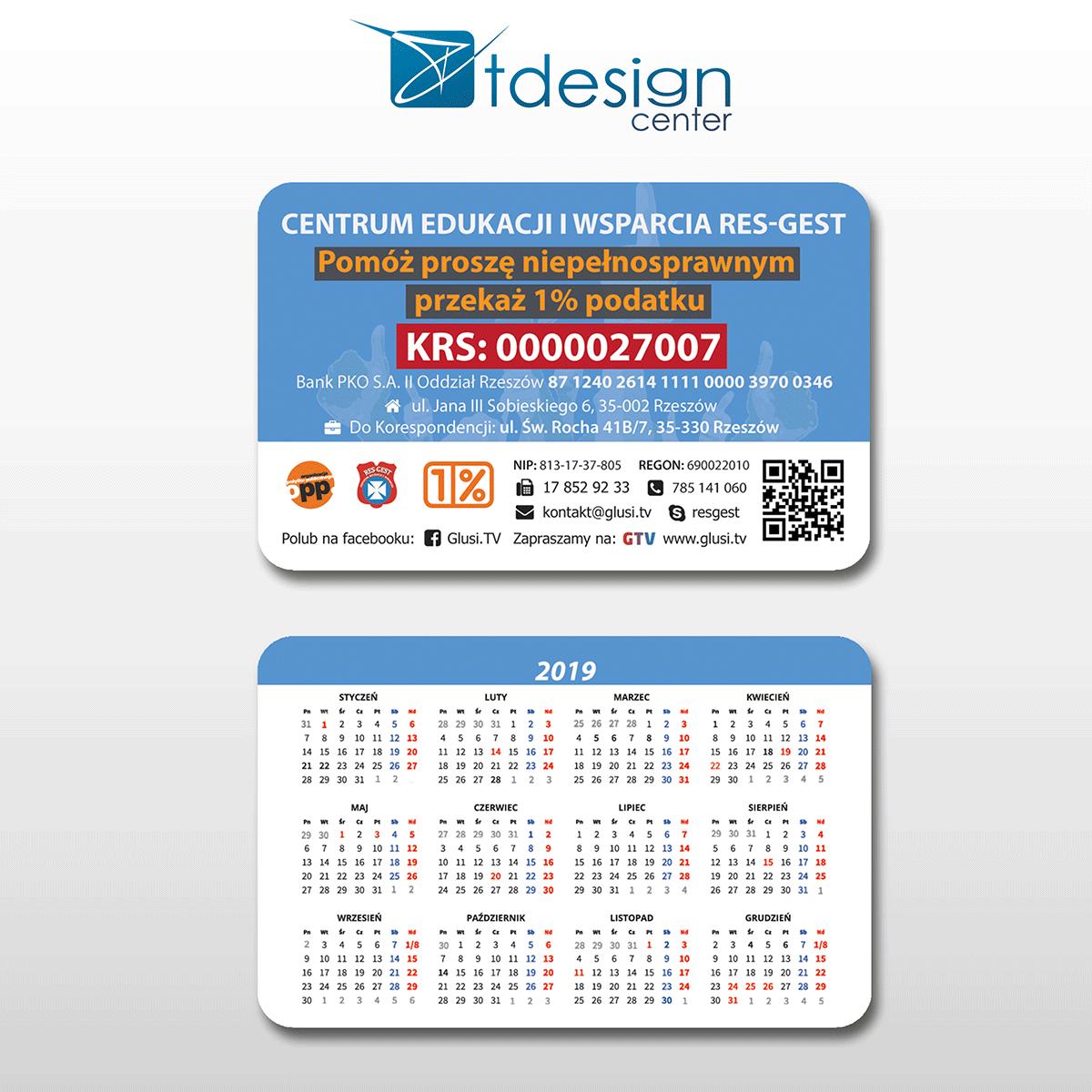 Kalendarzyk/Karta 85x54 mm, projekt + druk, realizacja dla firmy ResGest