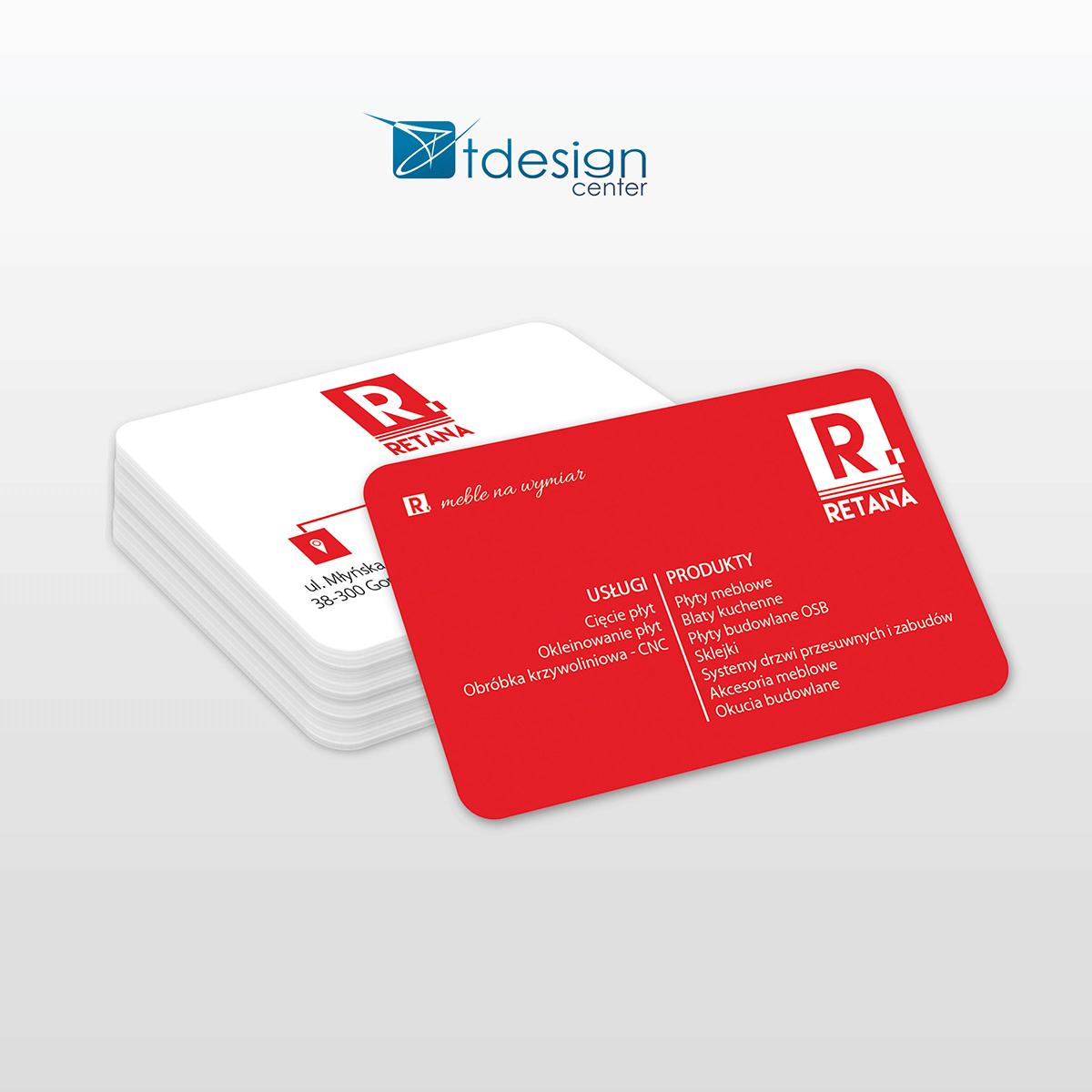 Karta biznesowa 85x54mm, projekt + druk, realizacja dla firmy Retana