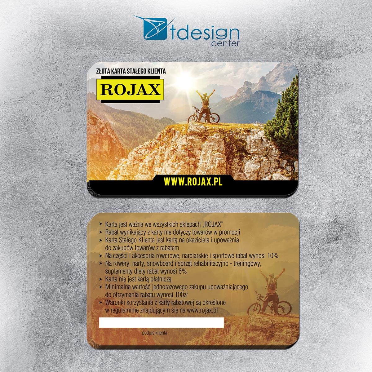 Karty plastikowe 85x54mm - projekt + druk - realizacja dla firmy Rojax