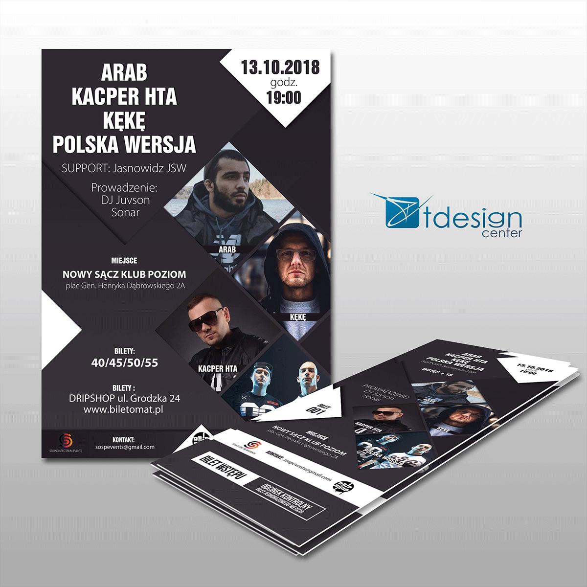 Plakaty A3 oraz bilety 7x15cm, projekt + druk