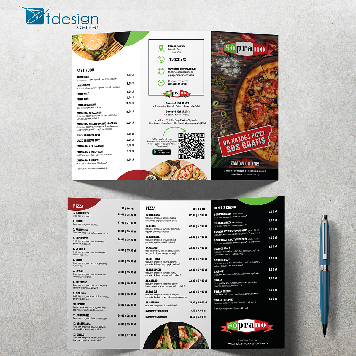 Ulotka A4 - projekt + druk - realizacja dla pizzerii Soprano