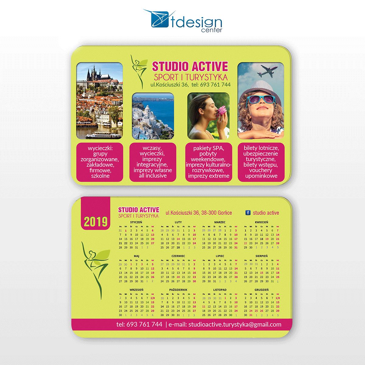 Karta biznesowa/kalendarzyk 85x54mm, projekt + druk, realizacja dla biura podróży Studio Active