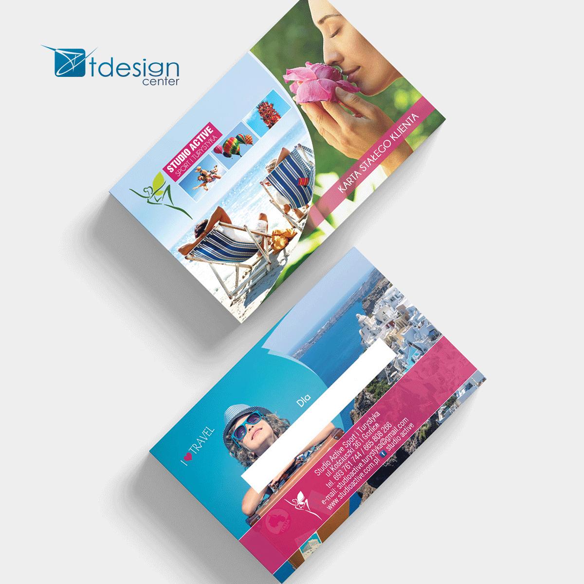 Karta biznesowa 85x55mm, projekt + druk, realizacja dla biura podróży Studio Active