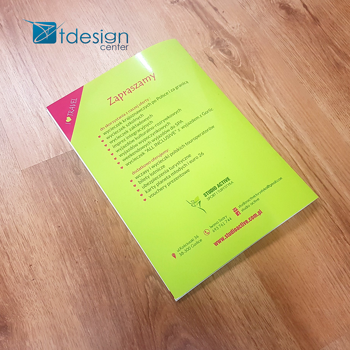 Katalog biura podróży Studio Active - projekt + druk