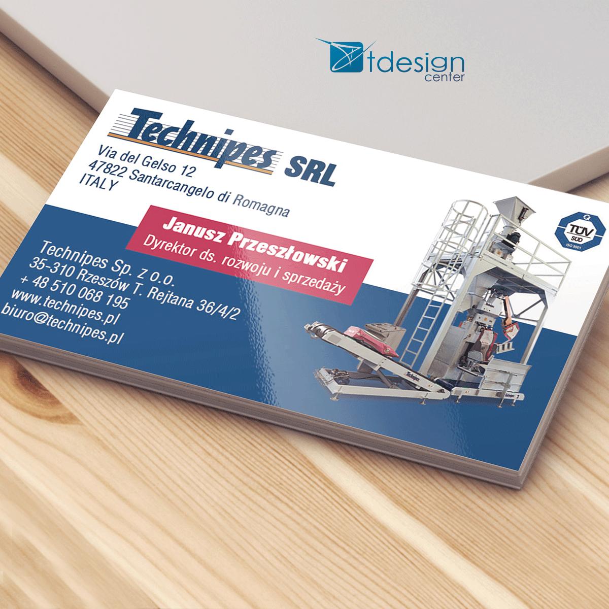 Wizytówki 90x50mm, projekt + druk, realizacja dla firmy Technipes