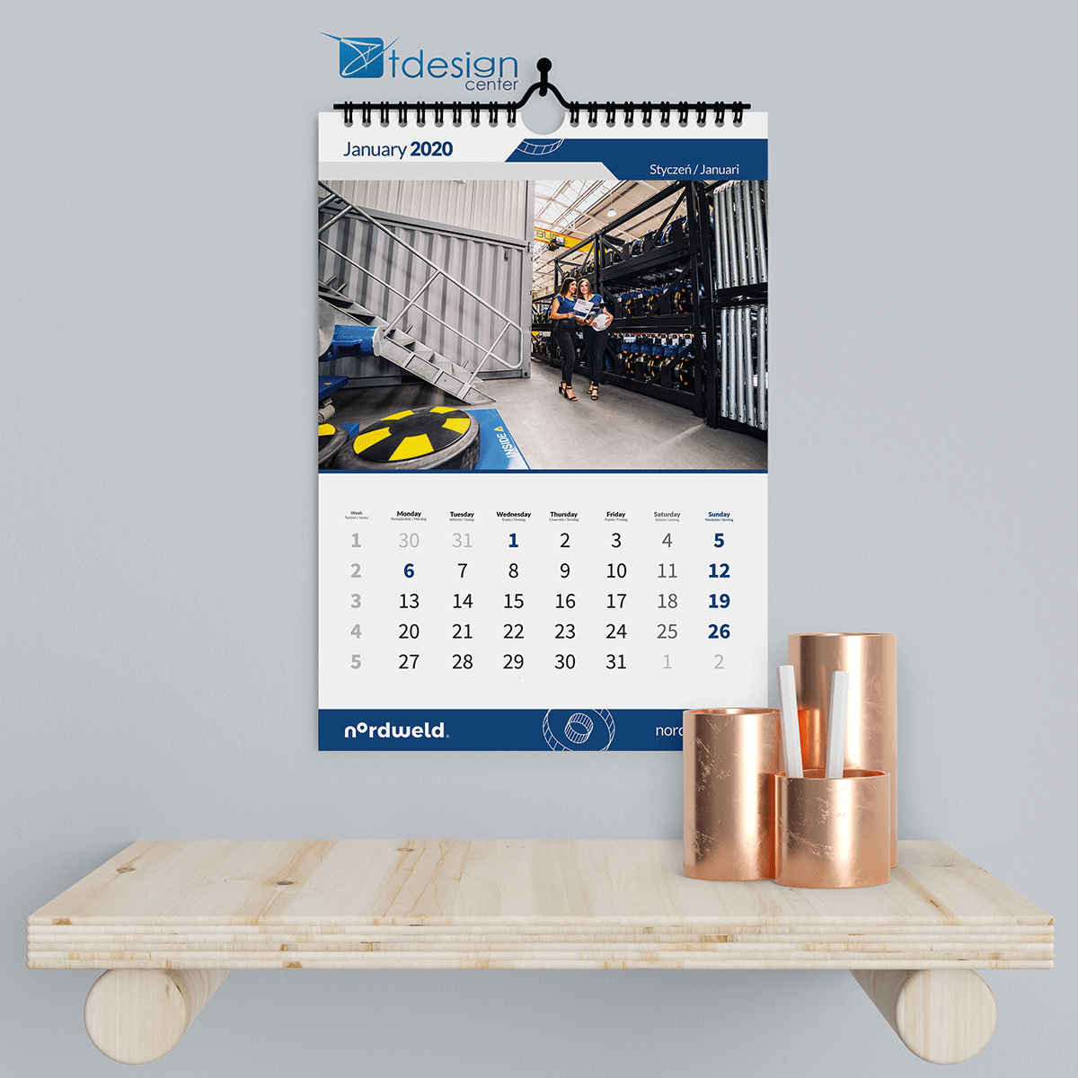 Kalendarz ścienny spiralowany A3, projekt + druk, realizacja dla firmy TLC