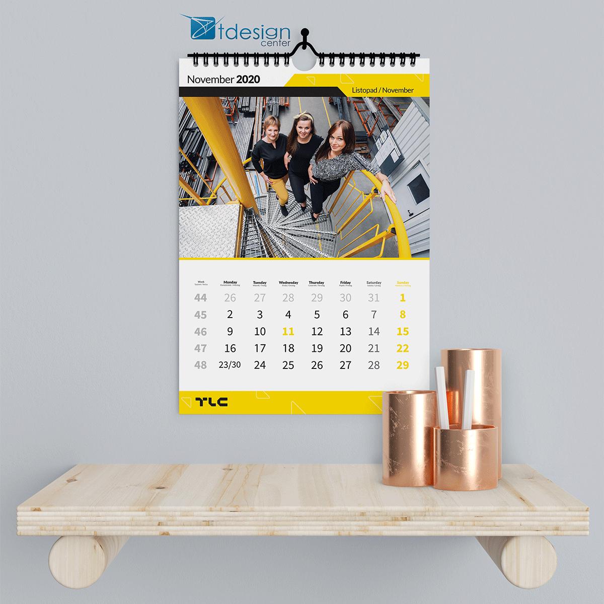 Kalendarz ścienny, spiralowany A3, projekt + druk wykonany dla firmy TLC