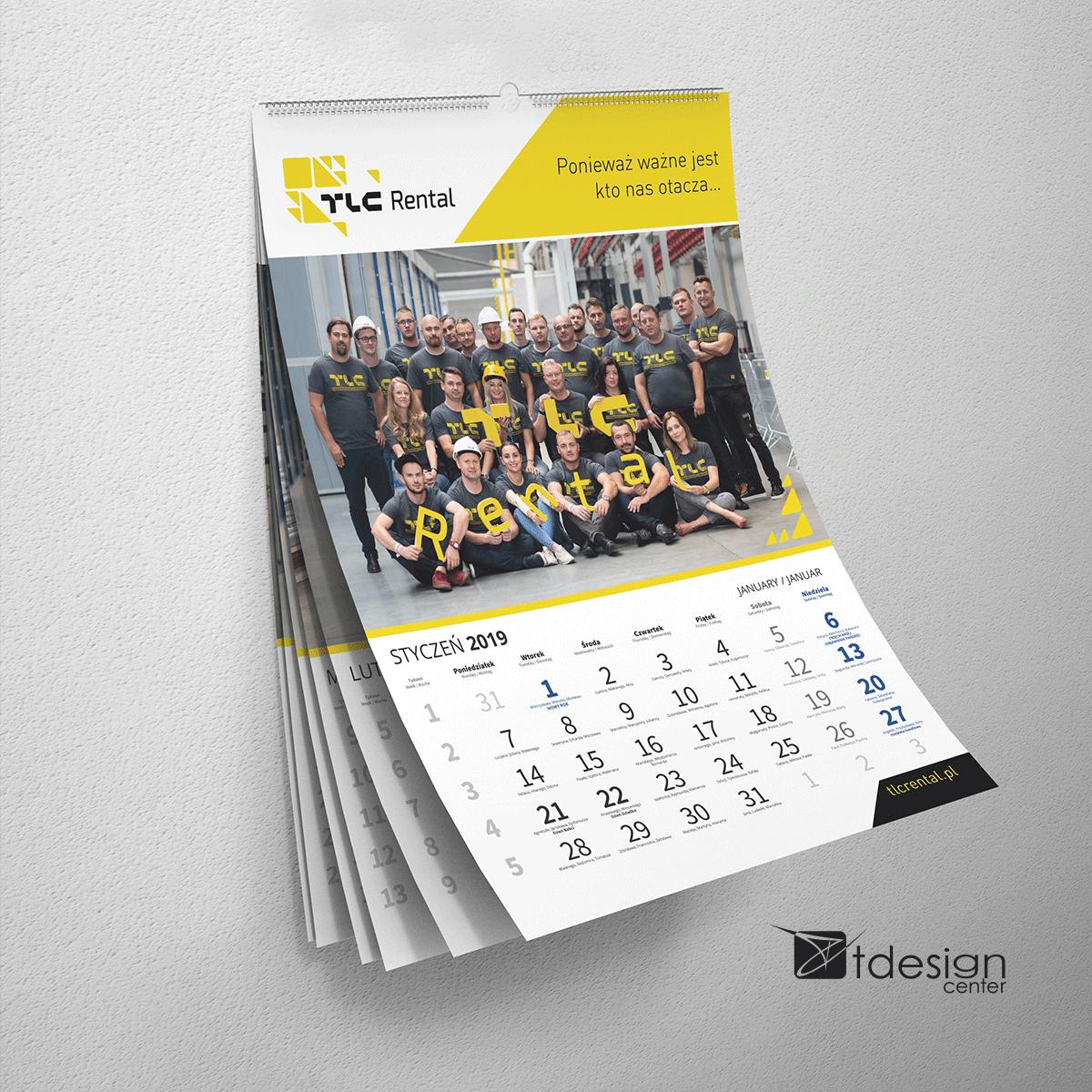 Kalendarz ścienny A3, spiralowany - projekt + druk, realizacja dla firmy TLC