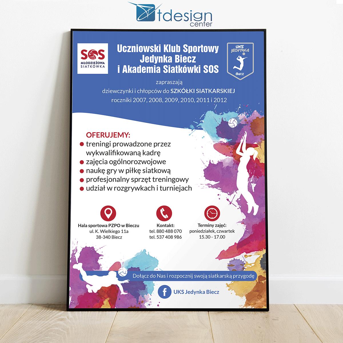 Plakaty A4 - projekt + druk, realizacja dla UKS Biecz