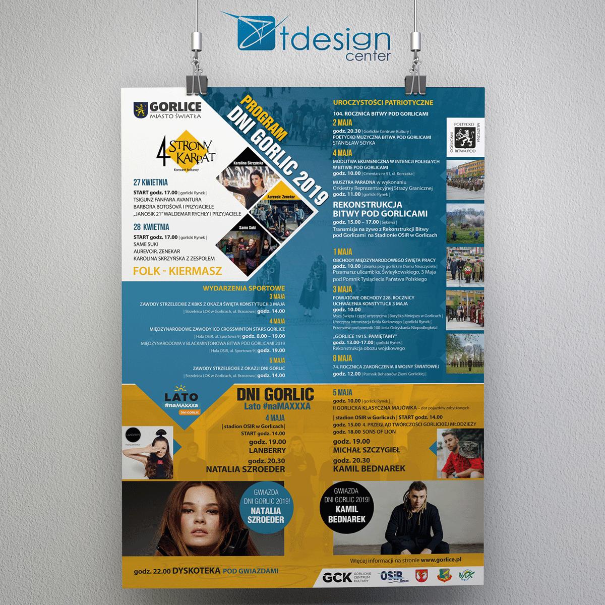 Plakat A2, projekt + druk, realizacja dla Urzędu Miasta Gorlice