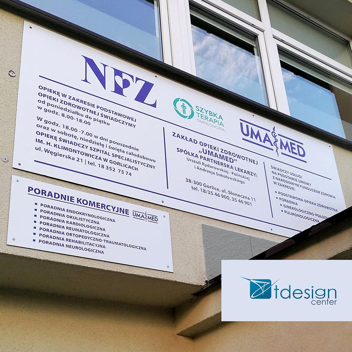 Tablica DIBOND - projekt + realizacja dla przychodni UMAMED
