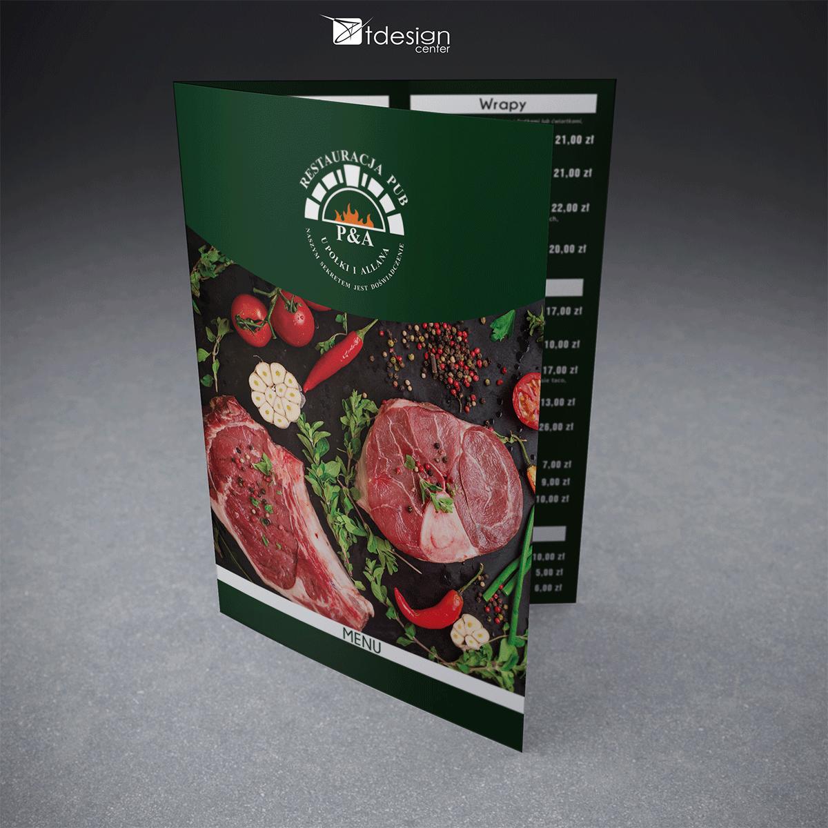 Menu A3 składane do A4, projekt + druk, realizacja dla restauracji u Połki i Allana