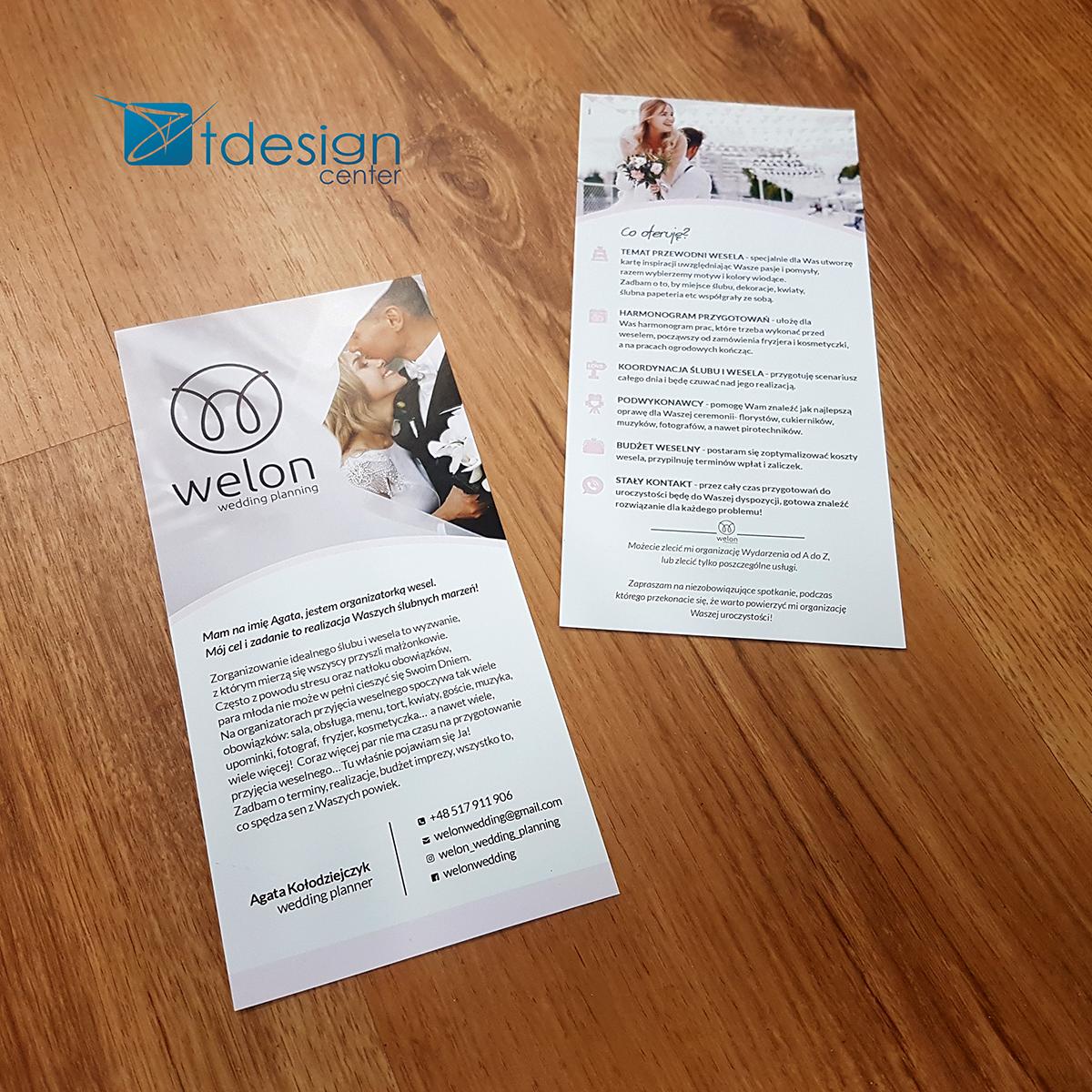 Ulotka DL - projekt + druk - realizacja dla firmy Welon