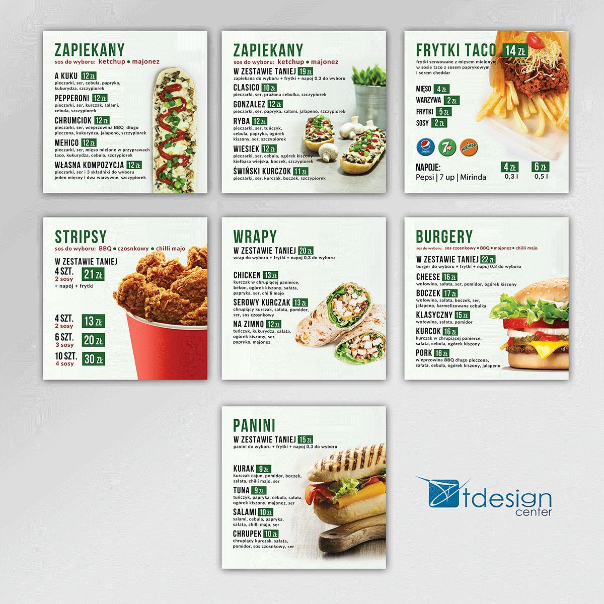 Folie backlit do podświetleń - menuboardy, projekt + realizacja dla restauracji Zapiekana