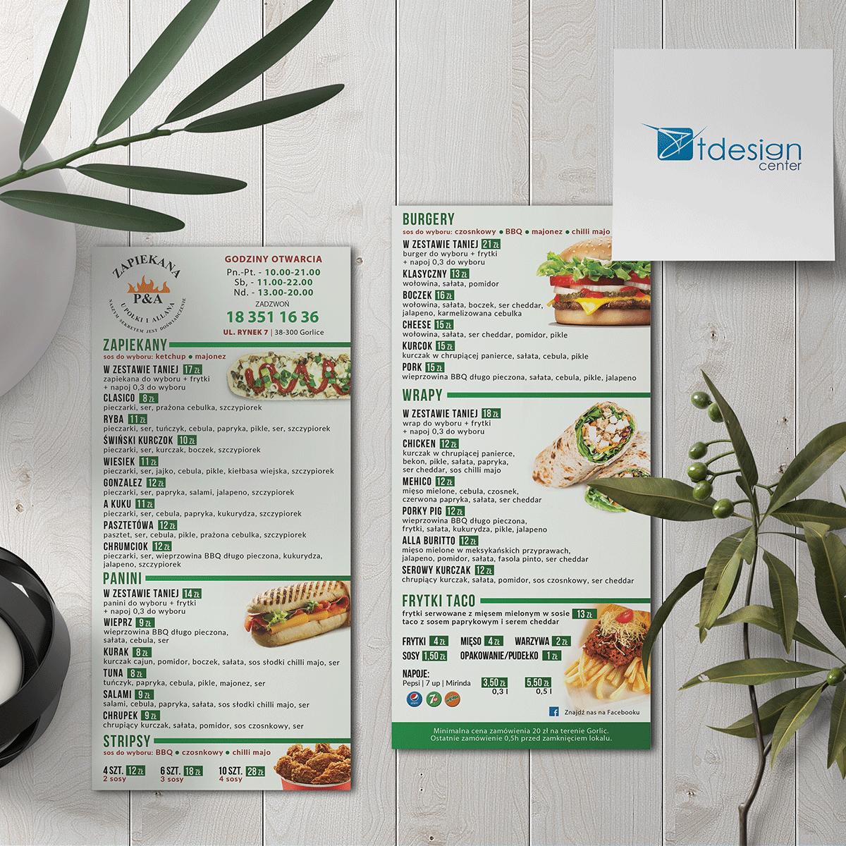 Ulotka DL, projekt+druk wykonany dla restauracji Zapiekana