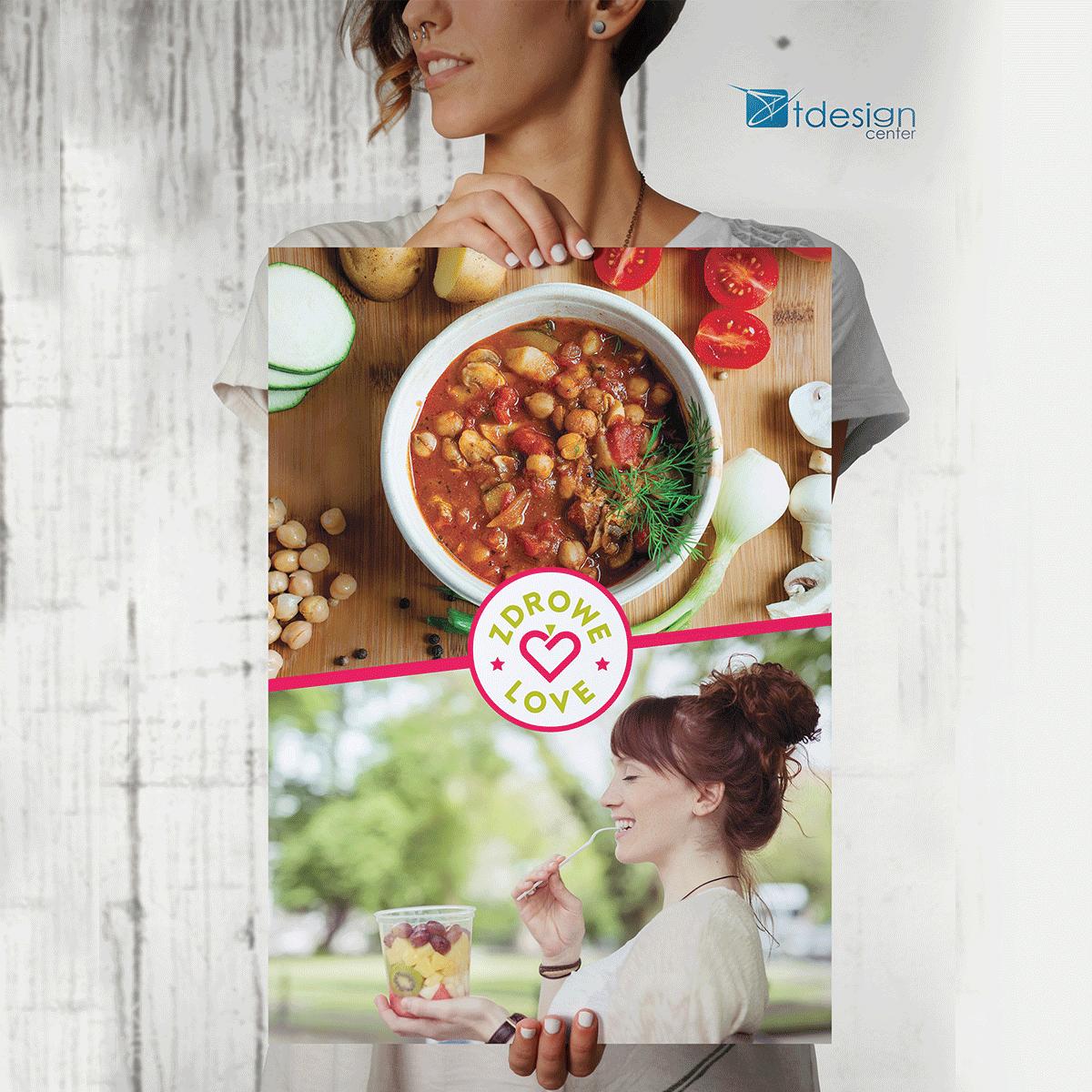 Plakat 70x100cm, projekt reklamy wykonany dla ZdroveLove